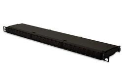 DIGITUS - Digitus 24 port CAT. 6A , Class EA Patch Panel, zırhlı (shielded), 0.5U, toz korumalı kapaklı, siyah renk