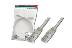 DIGITUS - Digitus Patch Kablo, UTP, CAT. 5E, 3 metre, AWG 26/7, Gri Renk, 3P sertifikalı